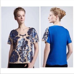 Awesome sequined top... beautiful blue & camel